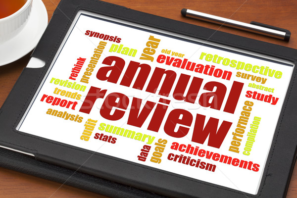 annual review word cloud on tablet Stock photo © PixelsAway