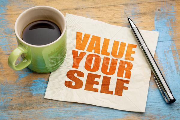 Valeur vous-même mot résumé serviette tasse Photo stock © PixelsAway
