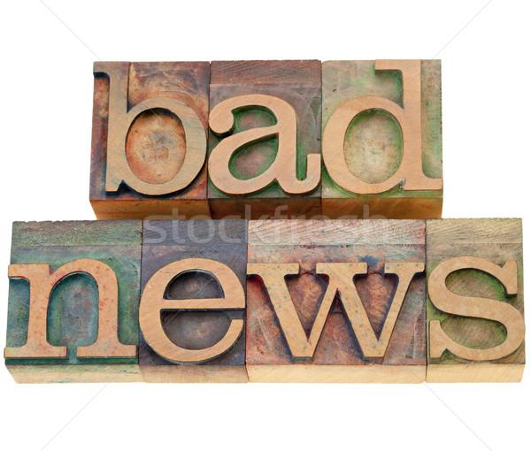 Kötü haber yalıtılmış sözler bağbozumu ahşap Stok fotoğraf © PixelsAway