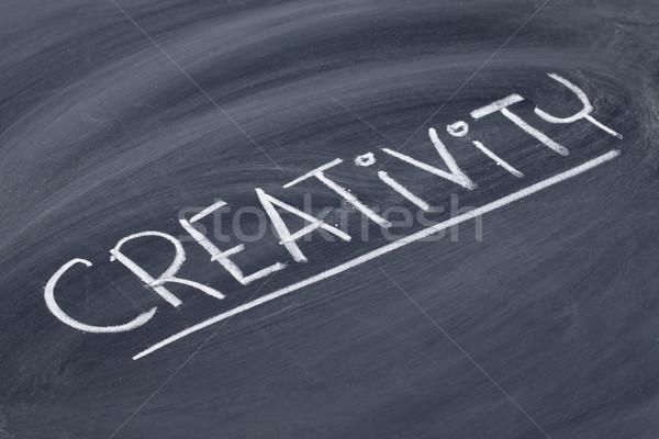 Kreativitás szó iskolatábla fehér kréta kézírás Stock fotó © PixelsAway
