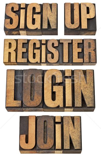 login, register, join, sign up Stock photo © PixelsAway