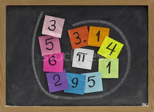 Сток-фото: числа · pi · доске · первый · десять