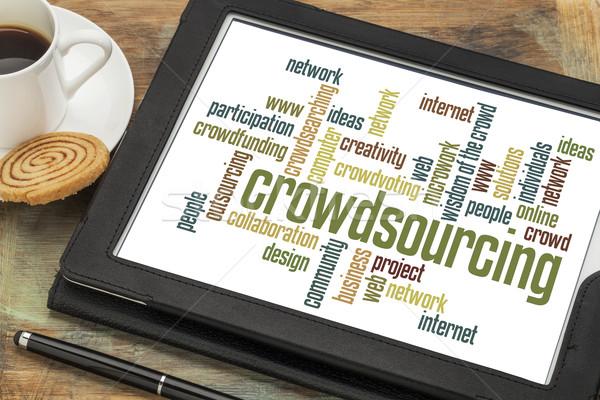 Crowdsourcing kelime bulutu dijital tablet fincan kahve Stok fotoğraf © PixelsAway