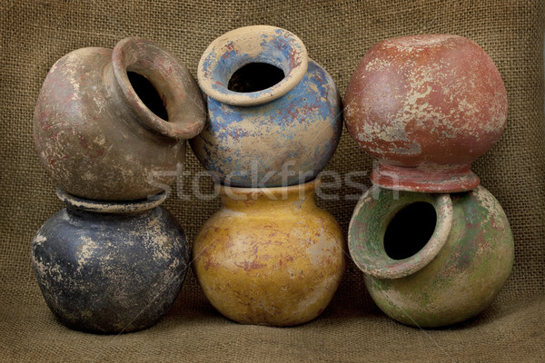 six clay plant pots with grunge finish Stock photo © PixelsAway