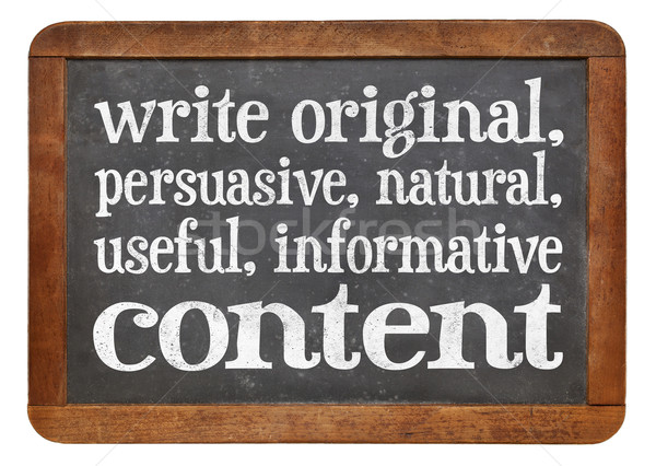 write original, useful, informative conctent Stock photo © PixelsAway
