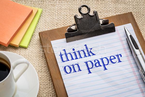 Stockfoto: Denk · papier · advies · schrijven · beneden · ideeën