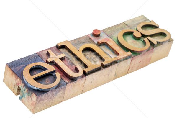 Etica parola legno tipo isolato Foto d'archivio © PixelsAway