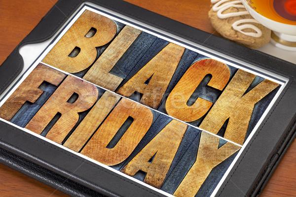Black friday compras texto vintage madeira Foto stock © PixelsAway