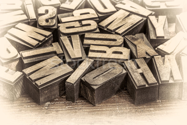 vintage letterpress wood type prinitng blocks Stock photo © PixelsAway