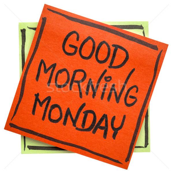 Bom dia nota alegre mensagem isolado nota pegajosa Foto stock © PixelsAway