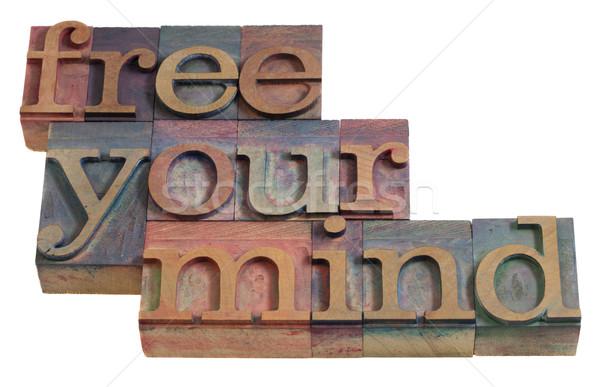 Libero mente meditazione parole vintage Foto d'archivio © PixelsAway