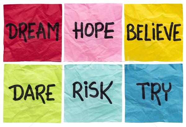 dream, believe, risk, try Stock photo © PixelsAway