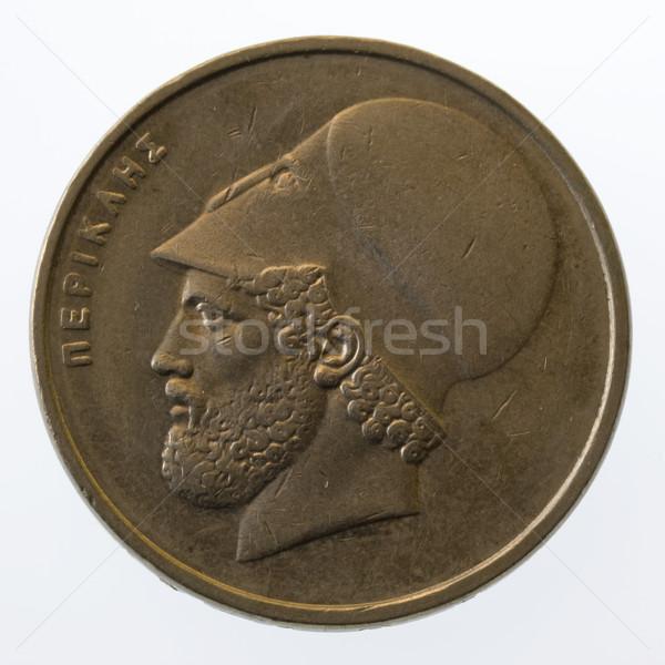 древних греческий лидера 20 монеты изолированный Сток-фото © PixelsAway