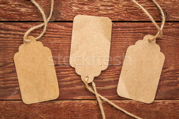blank paper price tags on rustic wood Stock photo © PixelsAway