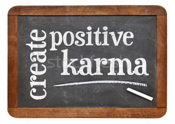 Készít pozitív karma szöveg iskolatábla motivációs Stock fotó © PixelsAway