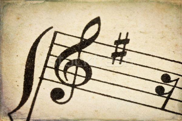 treble clef on vintage music sheet Stock photo © PixelsAway