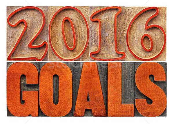 2016 goals banner in wood type Stock photo © PixelsAway