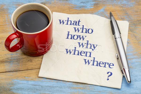 brainstorming question on napkin Stock photo © PixelsAway