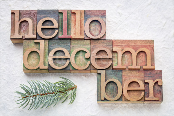 Hello December word abstrtact in wood type Stock photo © PixelsAway