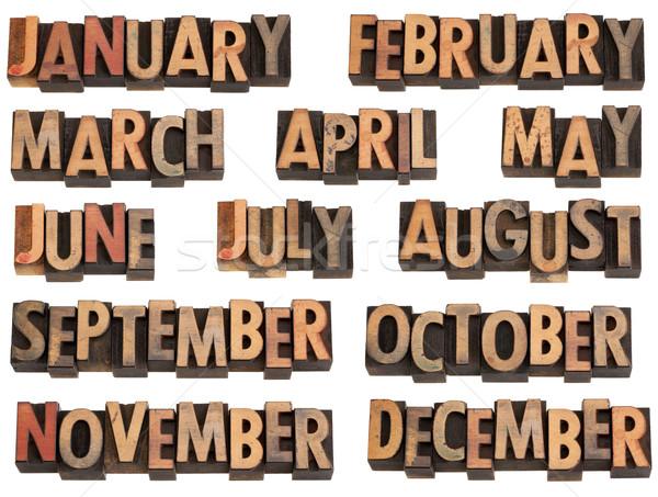 Stock photo: months in letterpress type