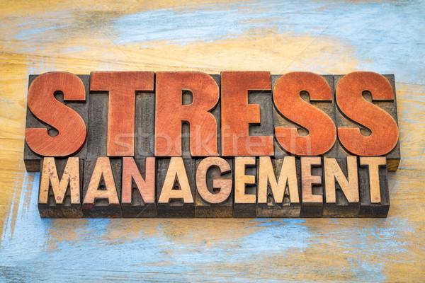 Foto stock: Estresse · gestão · palavra · abstrato · madeira · tipo