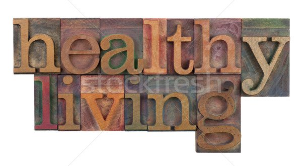 Sağlıklı yaşam başlık başlık bağbozumu ahşap tip Stok fotoğraf © PixelsAway