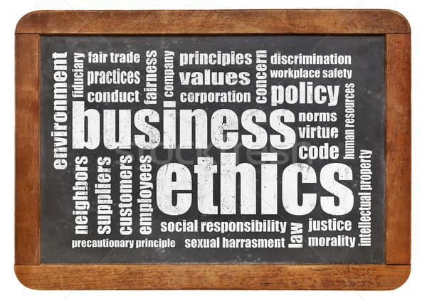 Business etica word cloud vintage lavagna società Foto d'archivio © PixelsAway