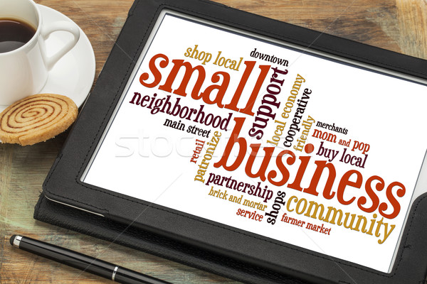 中小企業 言葉の雲 デジタル タブレット カップ コーヒー ストックフォト © PixelsAway