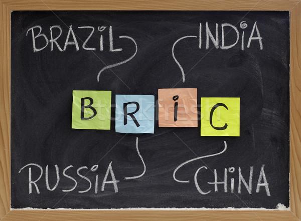 Foto stock: Brasil · Rusia · India · China · siglas · mercados