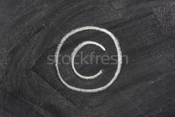 Foto stock: Direitos · autorais · símbolo · lousa · branco · giz · textura