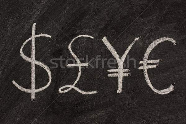 ストックフォト: シンボル · 4 · 通貨 · 黒板 · ドル · ポンド