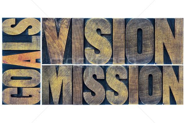 Célok előrelátás küldetés tipográfia absztrakt kollázs Stock fotó © PixelsAway