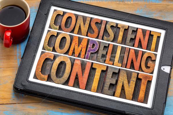 Consistente conteúdo recomendação marketing palavra Foto stock © PixelsAway