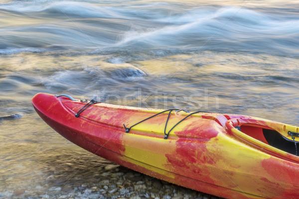 弓 カヤック 川 海岸 急速 抽象的な ストックフォト © PixelsAway