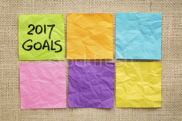 2017 trends in wood type New Year goals on sticky notes Stock photo © PixelsAway