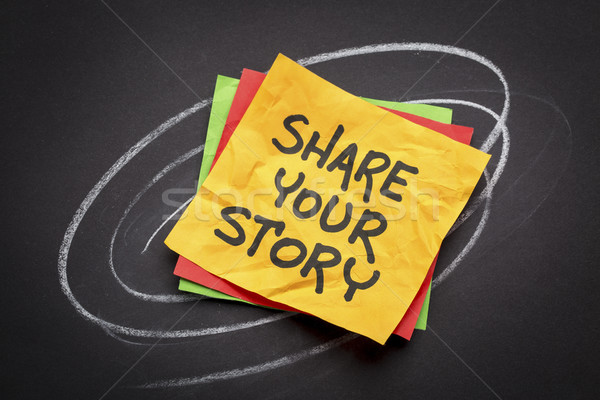 Stock photo: share your story on sticky note