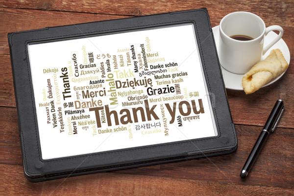 Merci différent langues nuage de mots numérique comprimé Photo stock © PixelsAway