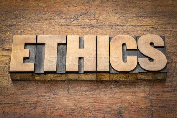 ética palavra abstrato madeira tipo ético Foto stock © PixelsAway