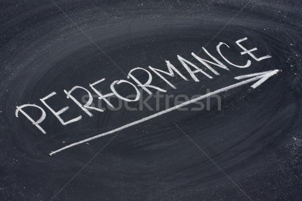 Performans kelime tahta beyaz tebeşir el yazısı Stok fotoğraf © PixelsAway