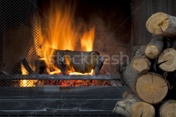 fireplace and firewood Stock photo © PixelsAway