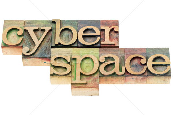 Ciberespaço madeira tipo isolado palavra Foto stock © PixelsAway