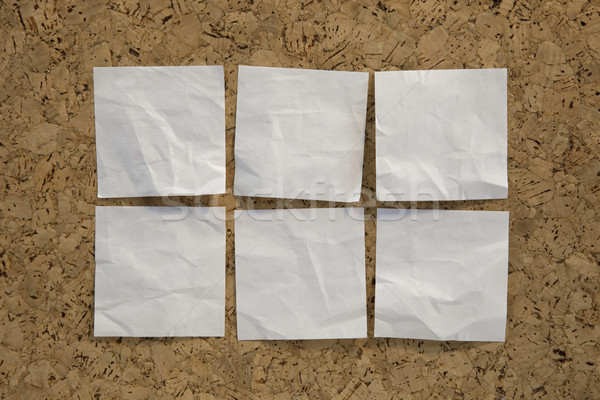 Seis branco lembrete notas placa de cortiça notas Foto stock © PixelsAway