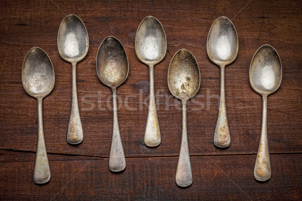 silver spoons with patina  Stock photo © PixelsAway