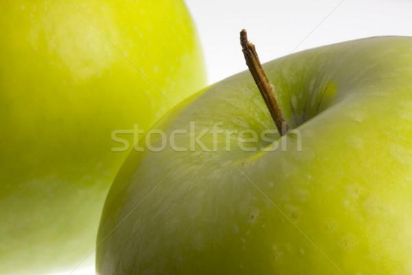 Makró kettő zöld nagyi almák fehér Stock fotó © PixelsAway