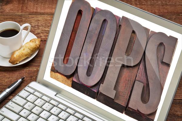 Oops woord laptop scherm internet vintage Stockfoto © PixelsAway