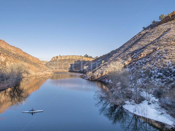 мнение каноэ озеро водохранилище форт Сток-фото © PixelsAway