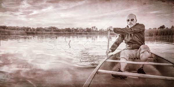 каноэ закат старший озеро Сток-фото © PixelsAway