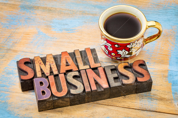 Stock photo: small business in letterpress wood type