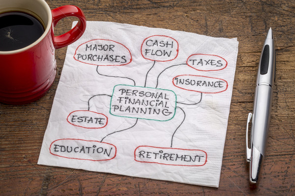 Persoonlijke financiële planning servet doodle beker espresso Stockfoto © PixelsAway