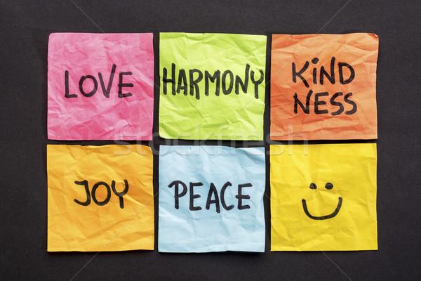 Miłości harmonia uprzejmość radości pokoju zestaw Zdjęcia stock © PixelsAway
